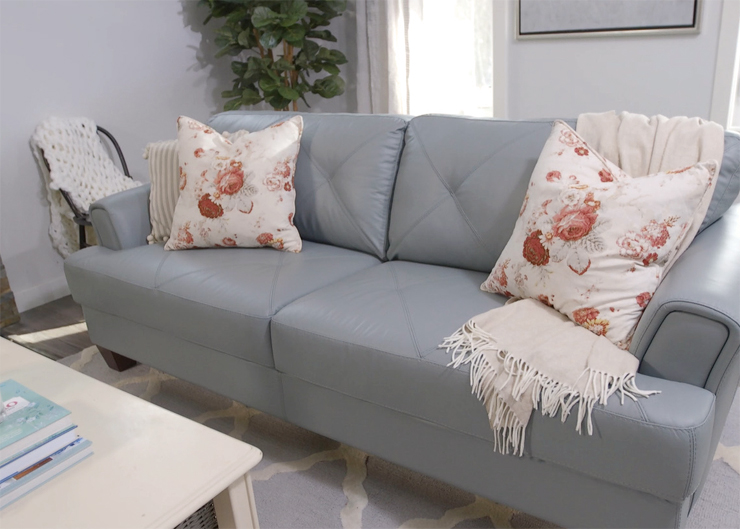 How to style a sofa in a statement color like seafoam green! This is the Vita from The Brick.