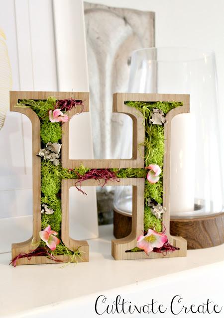 DIY Spring Moss Monogram
