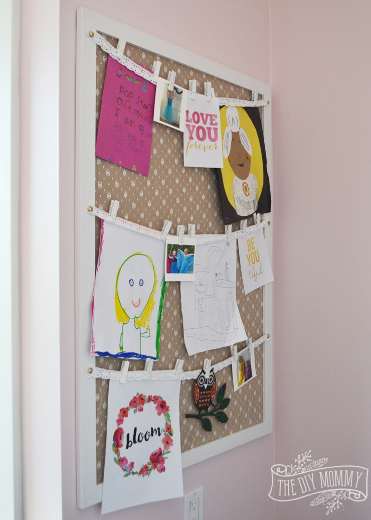 How to display kids art on a bedroom wall - an easy DIY art storage tutorial!