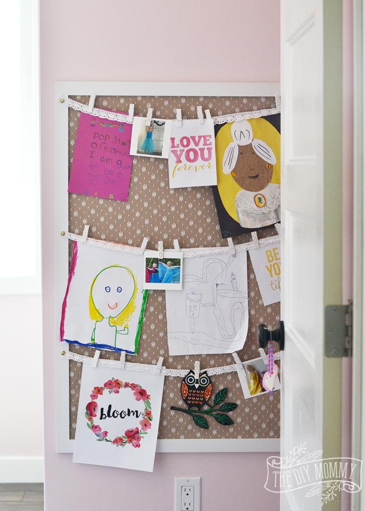 How to display kids art on a bedroom wall - an easy DIY art storage tutorial!