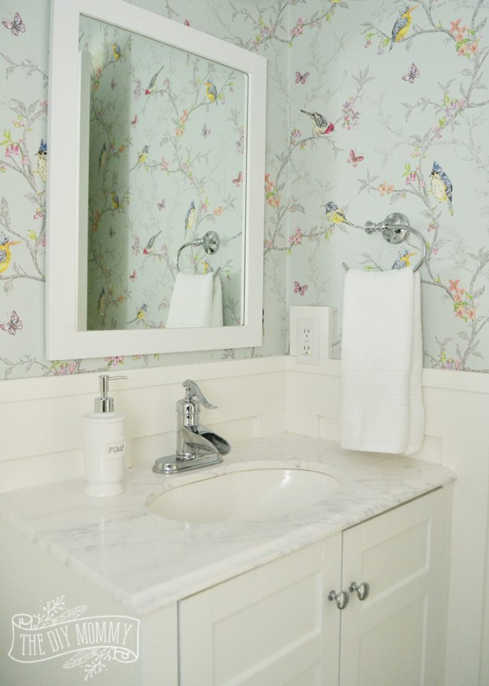 A Powder Room Makeover With Diy Wallpaper And Board