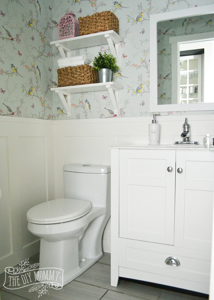 A DIY Powder Room Makeover with Chinoiserie Inspired Bird & Floral Wallpaper and Board and Batten Trim