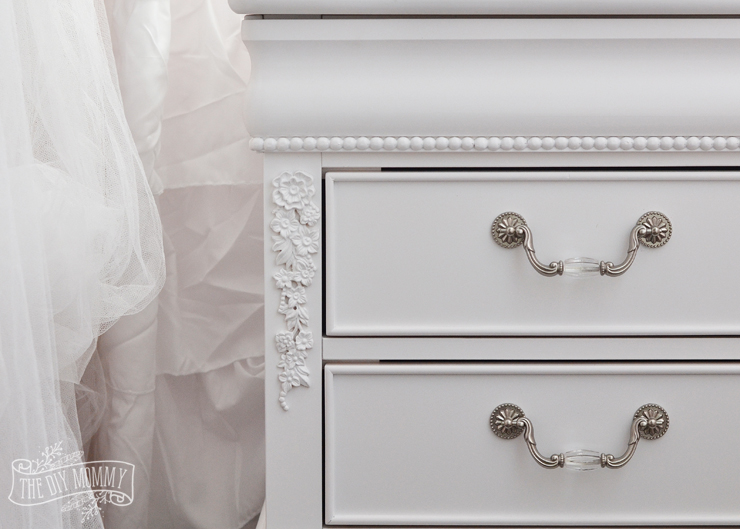 How to choose furniture for a kids' bedroom that you'll both love! This white shabby chic dresser from The Brick is gorgeous!