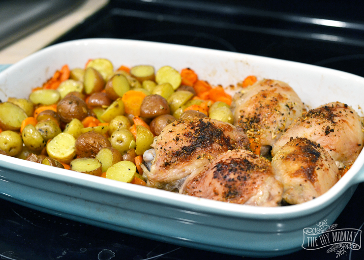 One Dish Chicken and Veggies - chicken, chopped veg, potatoes, olive oil, spices... boom!