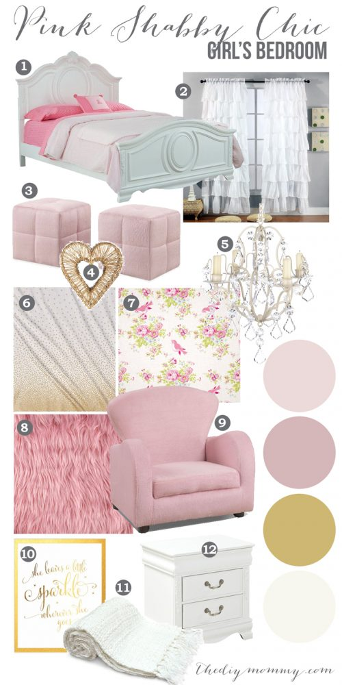 Mood board a pink shabby chic girls bedroom design for Diy shabby chic bedroom ideas
