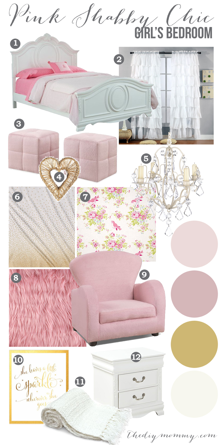 A Pink, Shabby Chic Girls Bedroom Mood Board Design Idea