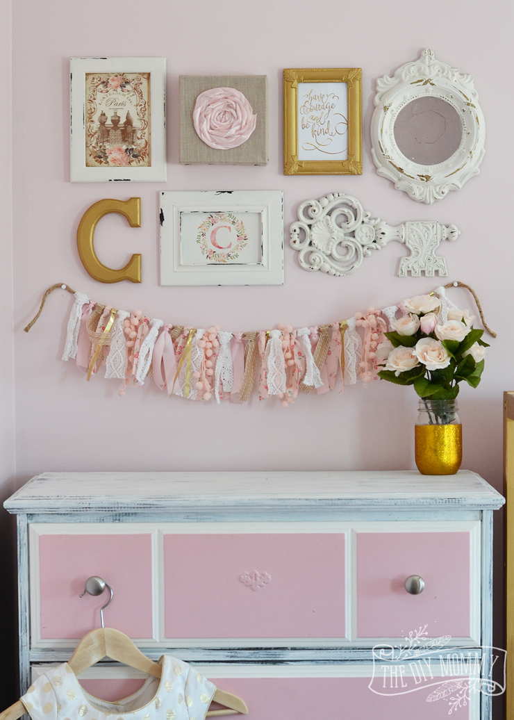 A thrifted shabby chic gallery wall and lamp makeover for Shabby chic wall art