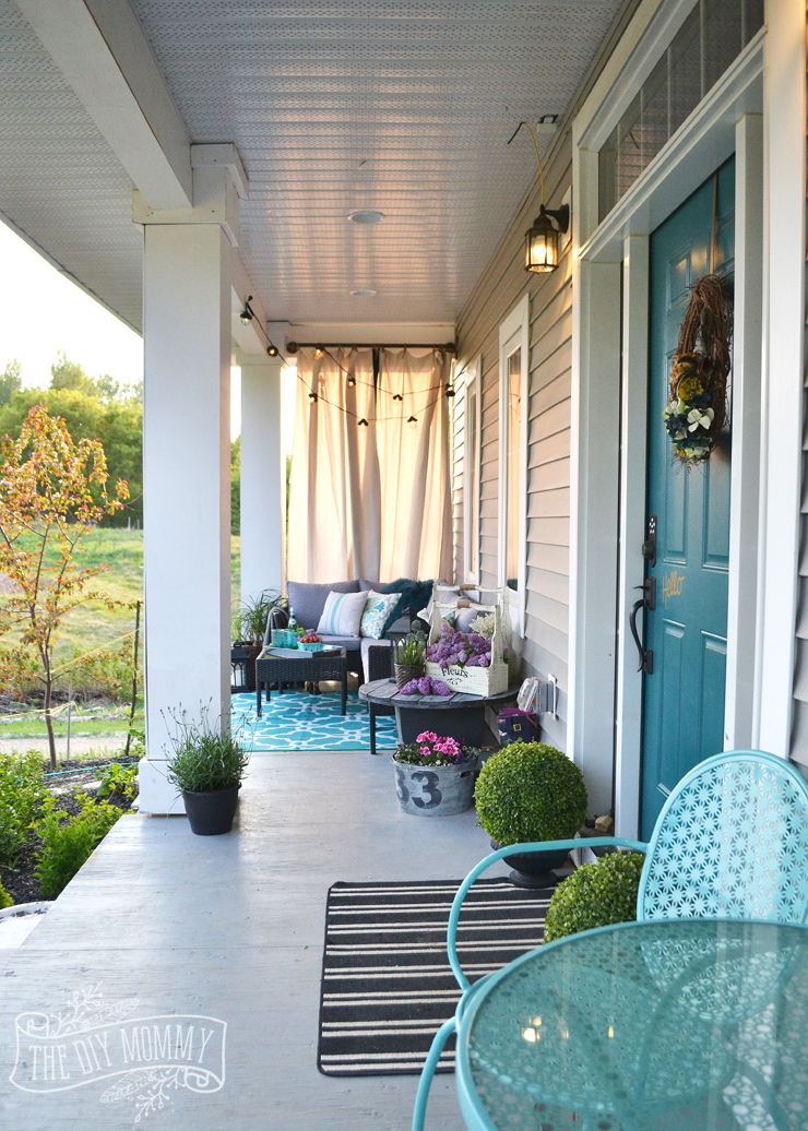 french country boho porch decor ideas in teal aqua gray white