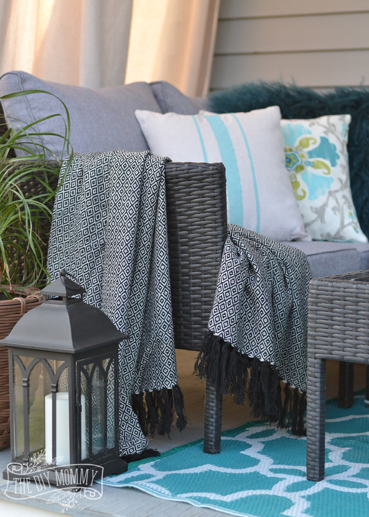 French country boho porch decor ideas in teal, aqua, gray, white & black