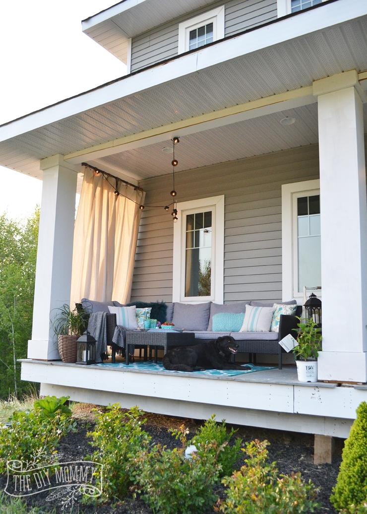 French country boho porch decor ideas in teal, aqua, gray, white & black