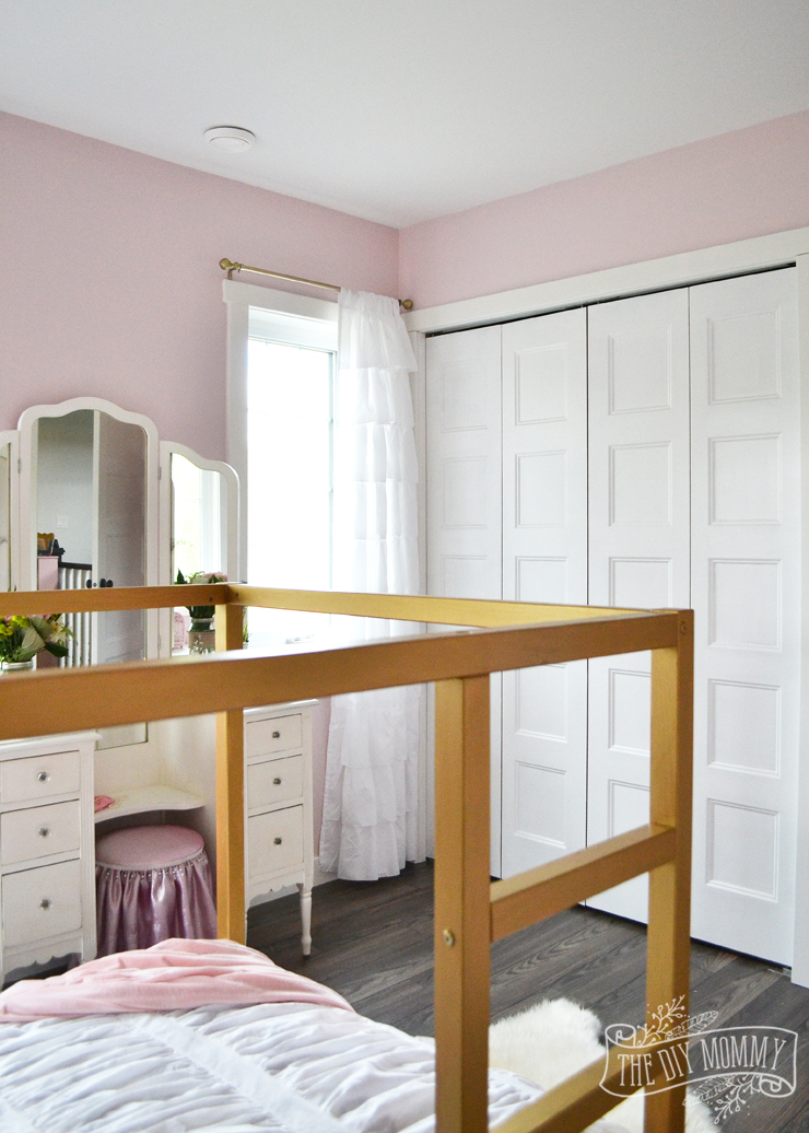 A Pink, White & Gold Shabby Chic Glam Girls' Bedroom