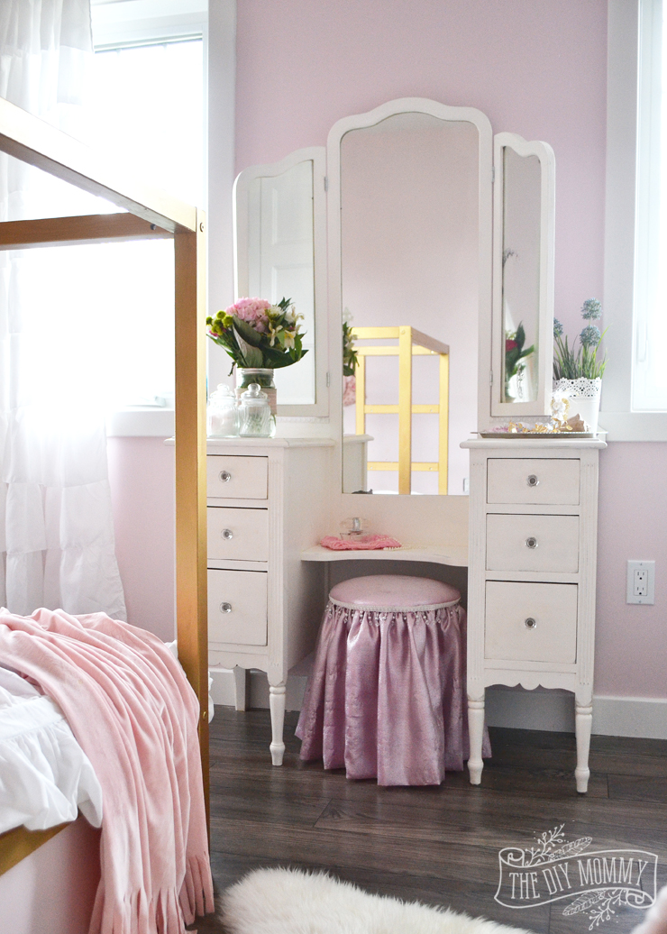 A pink white gold shabby chic glam girls bedroom Shabby chic girls bedroom furniture