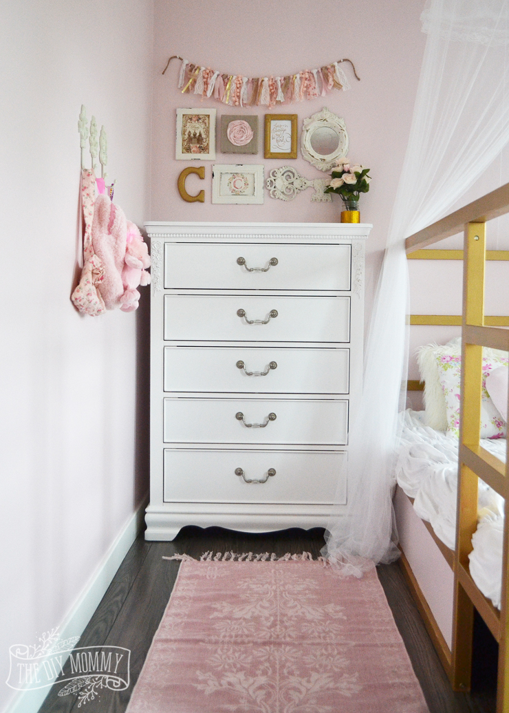 A Pink White Gold Shabby Chic Glam Girls Bedroom Reveal Little