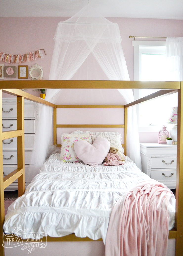 A Pink, White & Gold Shabby Chic Glam Girls\' Bedroom Reveal (Little ...