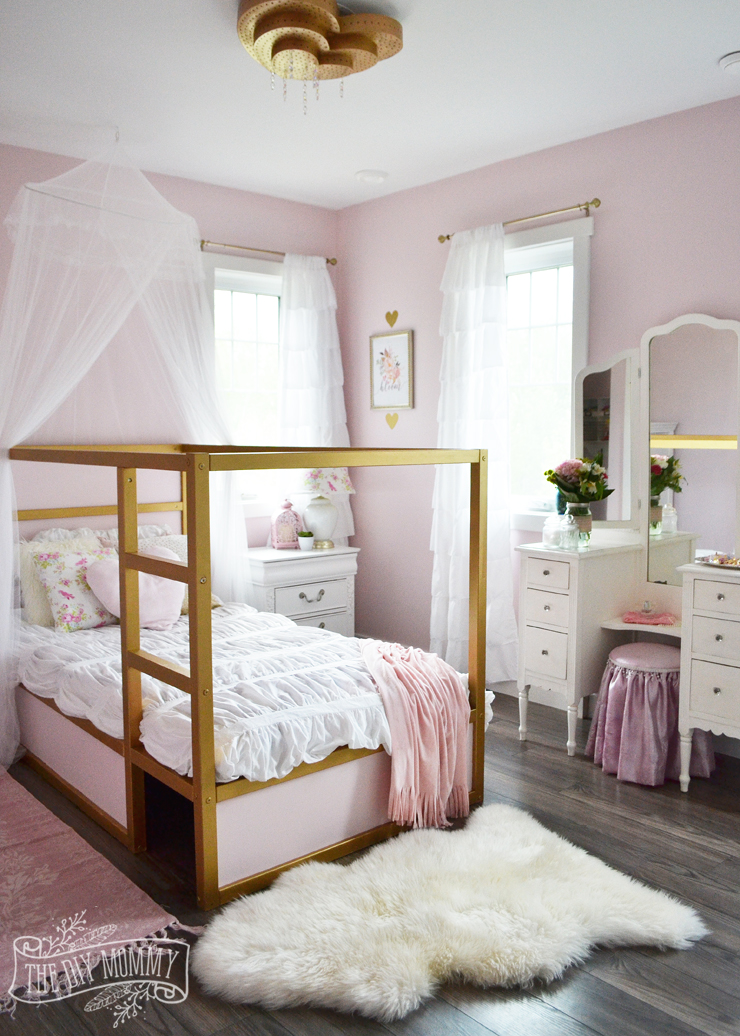 a pink white gold shabby chic glam girls bedroom reveal little c s room makeover for the orc. Black Bedroom Furniture Sets. Home Design Ideas