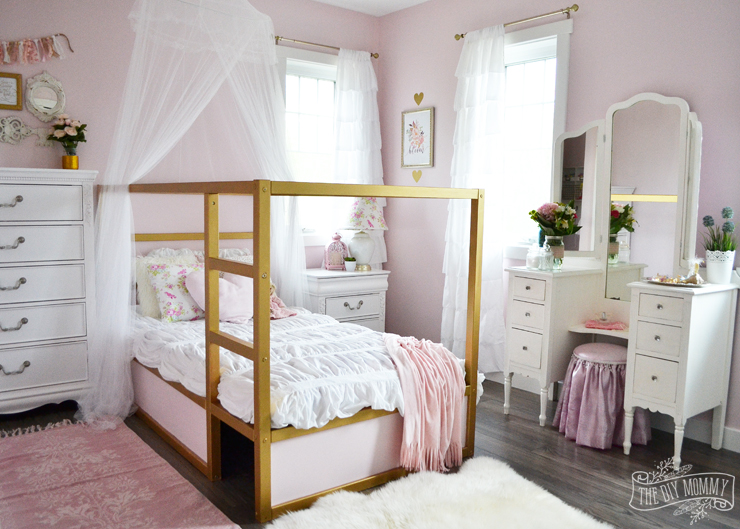A shabby chic glam girls bedroom design idea in blush pink  white and gold  with. A Pink  White   Gold Shabby Chic Glam Girls  Bedroom Reveal