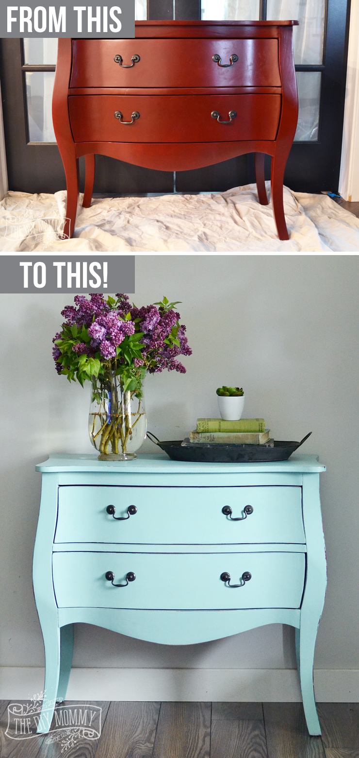 How to paint a piece of furniture in under 3 hours with DIY chalk style paint - gorgeous robin's egg blue chest makeover!