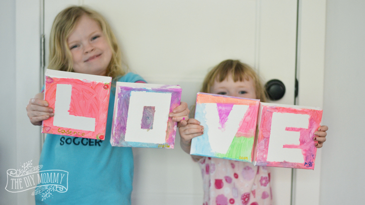 "DIY Kids' Craft ""Love"" Canvases - a sweet Mother's Day craft & gift idea!"