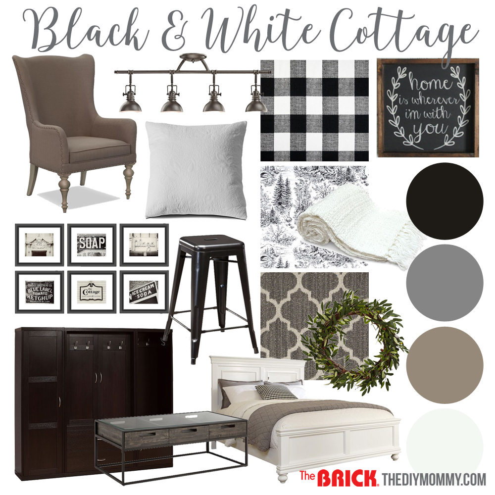 A black & white farmhouse country cottage decor mood board