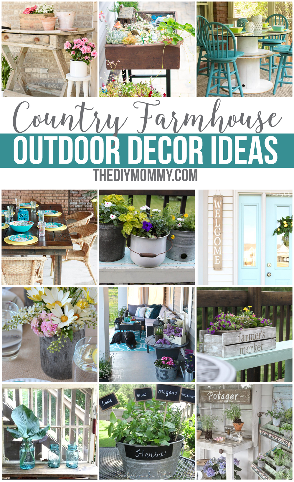 Gorgeous country farmhouse outdoor decor & DIY ideas for your patio, deck, garden and yard