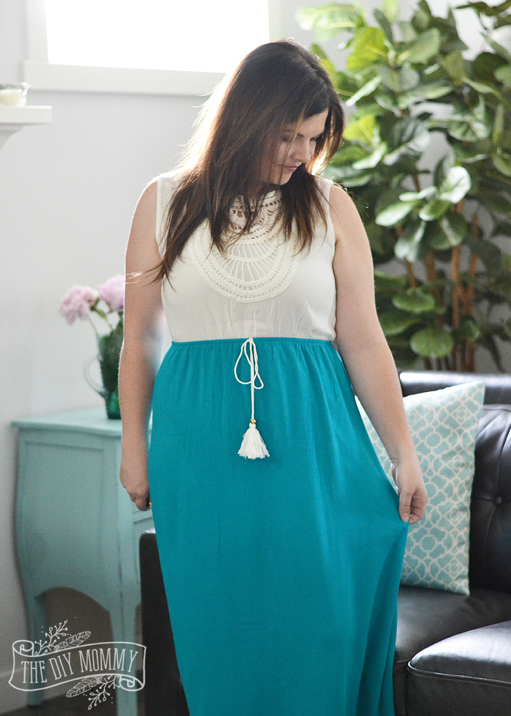 50de28adae How to Hem a Maxi Skirt or Dress - No Sewing Required! | The DIY Mommy