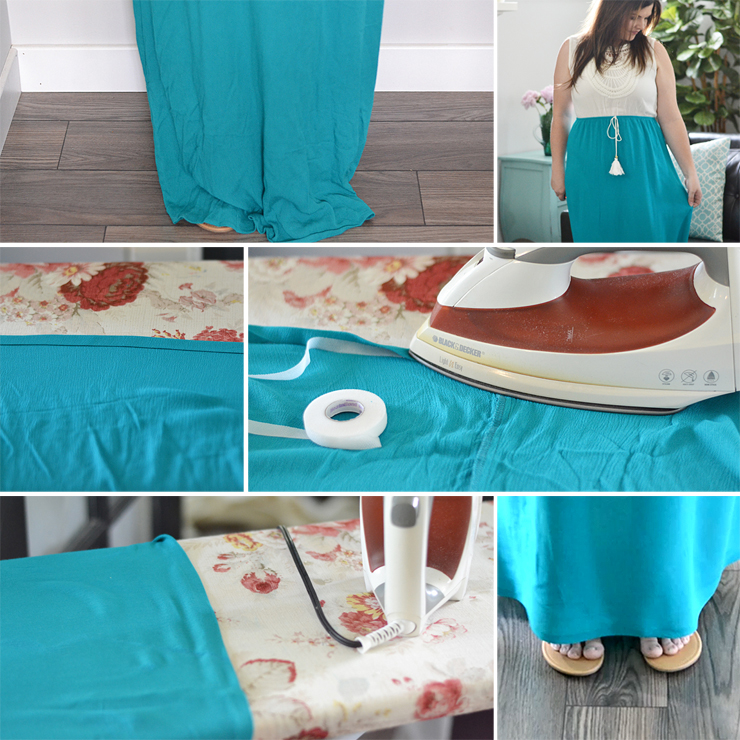 How to hem a maxi dress or skit - no sewing required video tutorial!