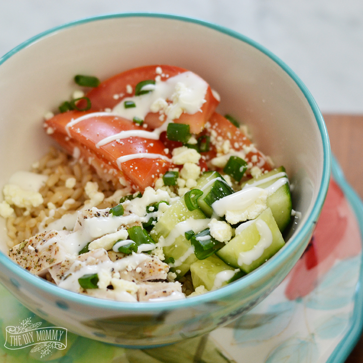 Fast and nutritious greek rice bowl for lunch with whole grain brown Minute Rice