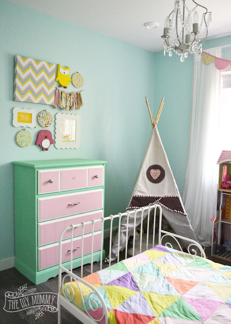Modern vintage pastel rainbow girls bedroom