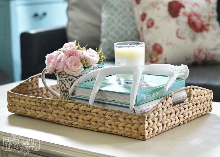 Wicker-tray-blush-roses-boho-country-living-room