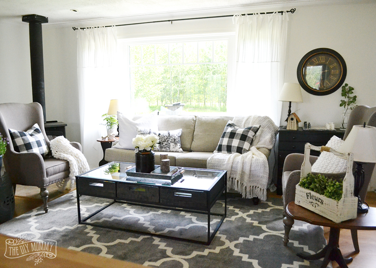 Our Guest Cottage Living Room: Neutral Mix-and-Match Style | The DIY ...
