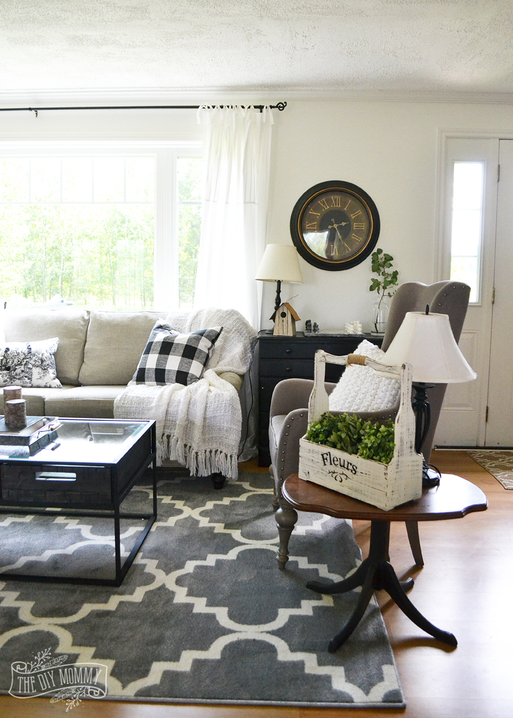 Fashion Inspired Guest Room: Our Guest Cottage Living Room: Neutral Mix-and-Match Style