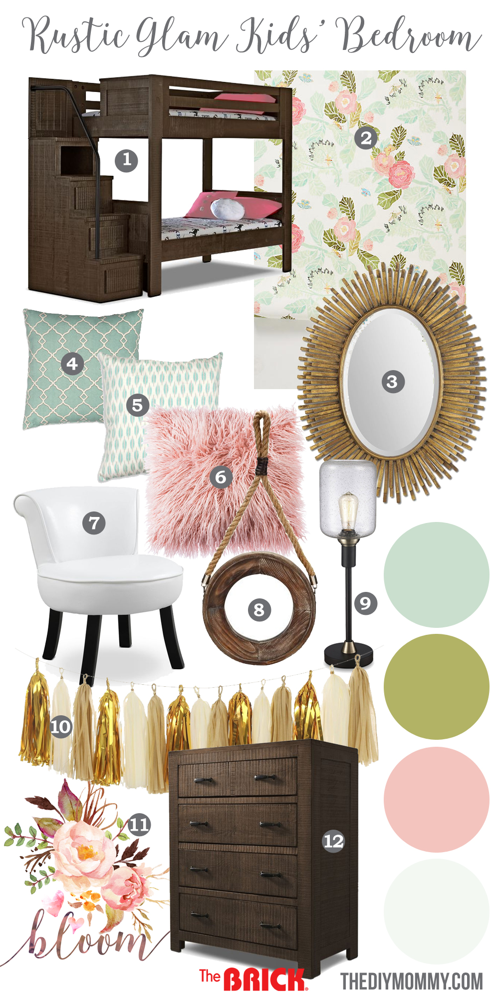 Rustic Glam S Bedroom Mood Board Featuring Gold Blush Pink Mint Green Aqua