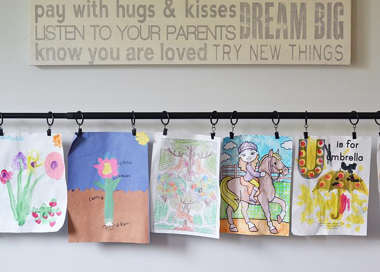 How to display kids artwork - easy idea!