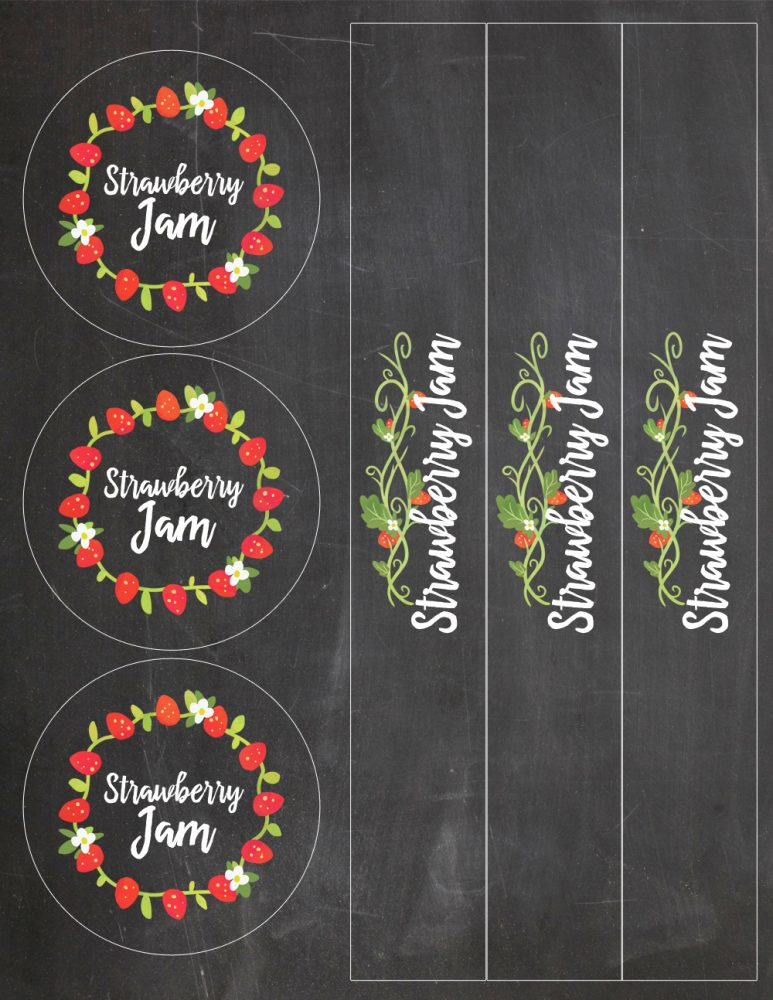 Easy Strawberry Jam Recipe with Free Printable Vinyl Labels