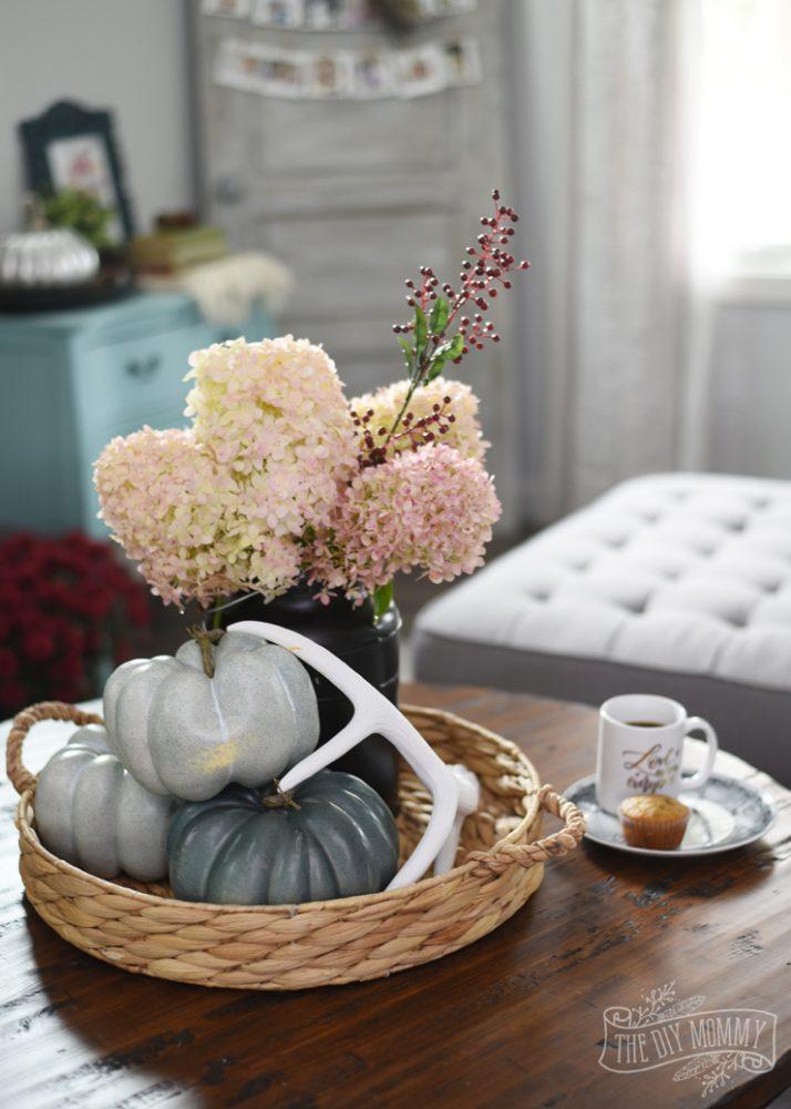 Hydrangeas coffee rustic coffee table Fall