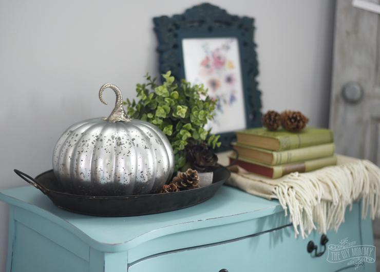 Teal dresser silver pumpkin Fall floral