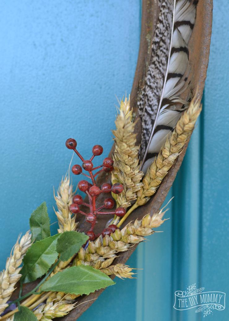 A simple Fall wreath for salvaged farm junk