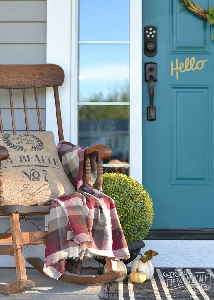 Fall porch in teal, red, burlap