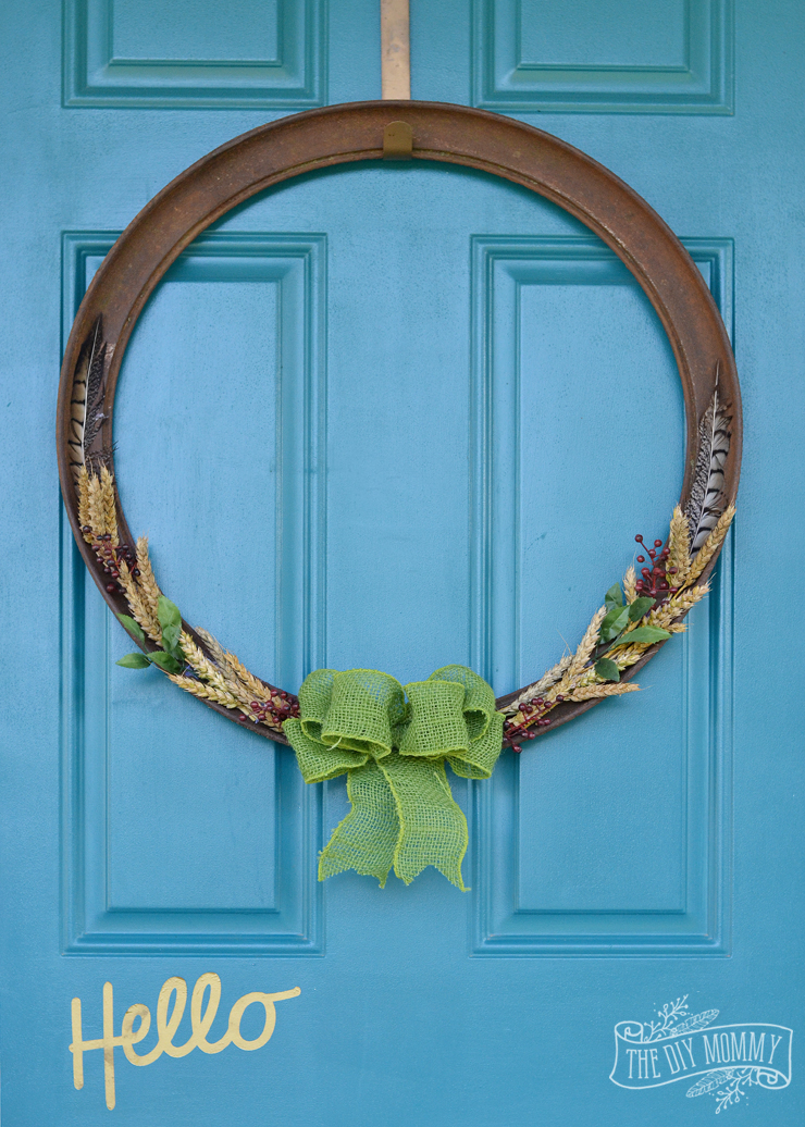 A simple Fall wreath for salvaged farm junk