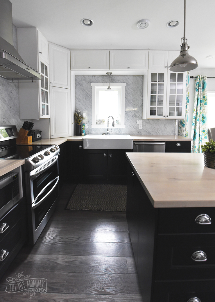 Black and white vintage industrial style kitchen