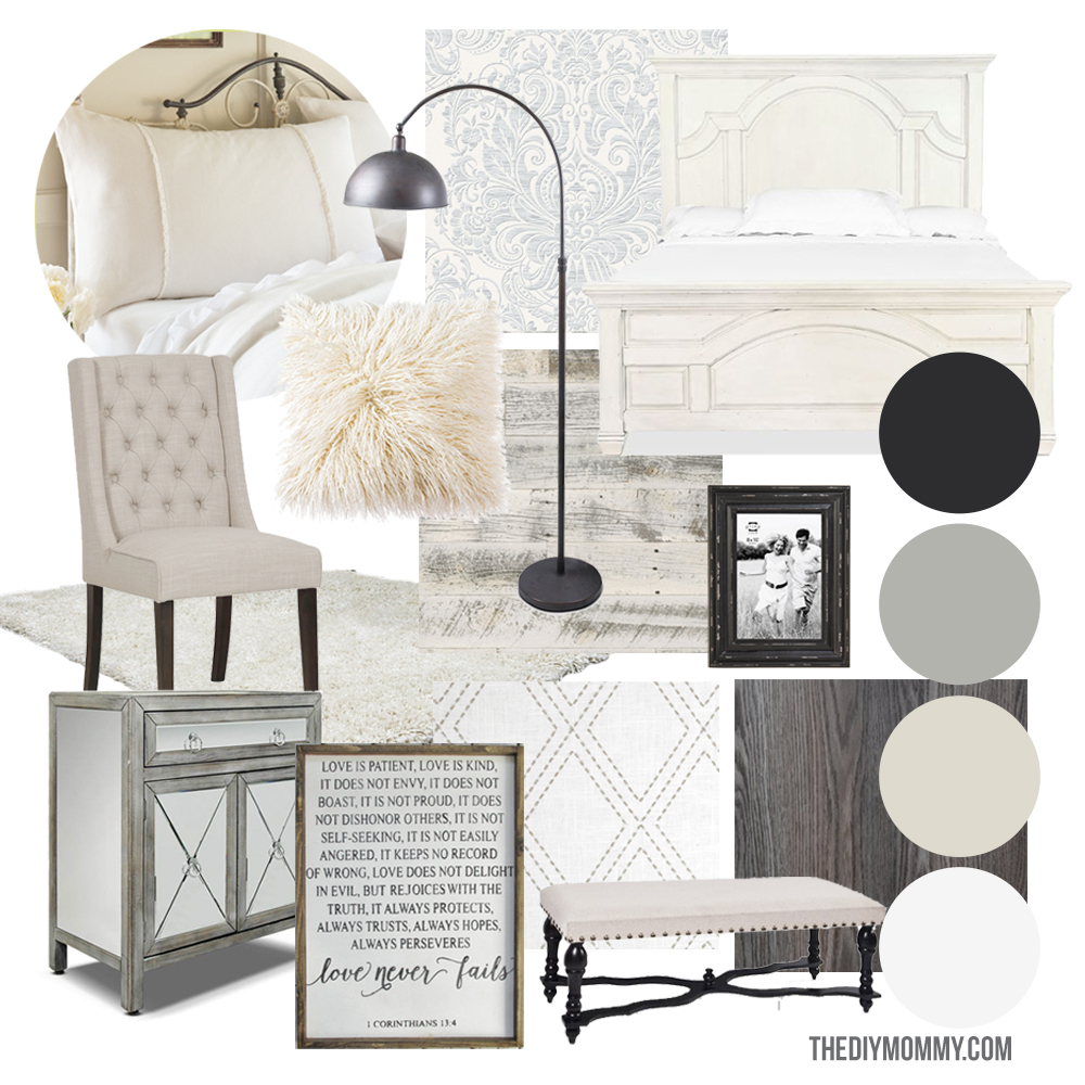 Modern French Country Master Bedroom Mood Board Design