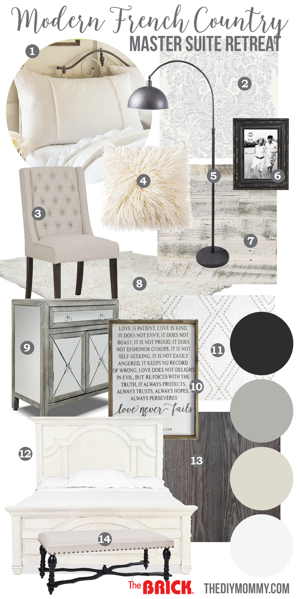 Mood board a modern french country master bedroom my one for Modern french country design
