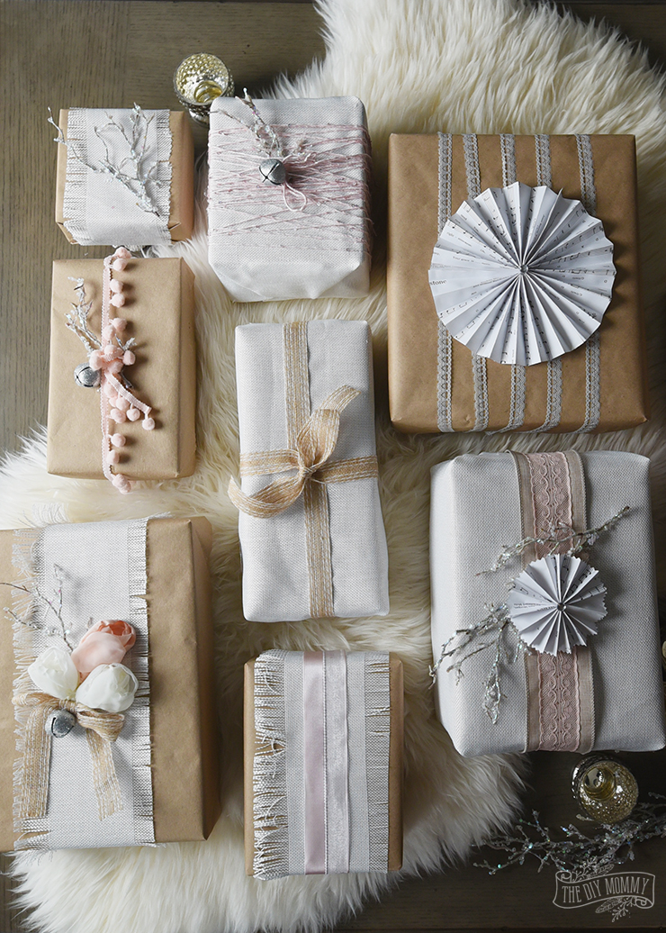 Vintage Style Ribbon Gift Wrapping Post Travel Hand Made With Love Shabby Chic