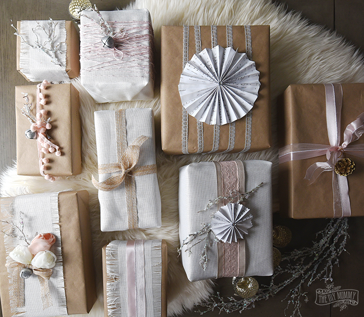 Shabby Chic Christmas Present Wrapping Ideas - Vintage inspired, pink, kraft, white linen, sparkly DIY gifts