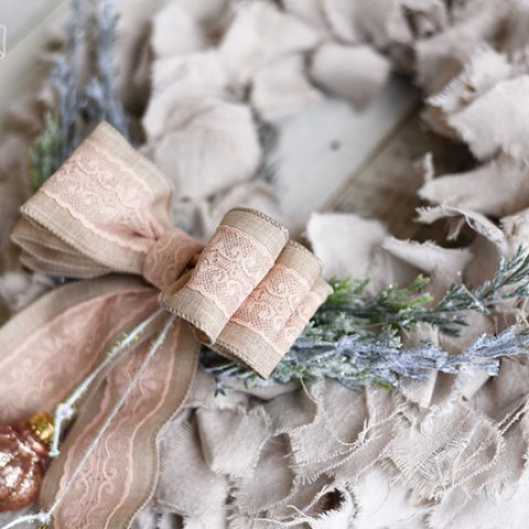 DIY Shabby Chic Dropcloth Rag Christmas Wreath in Pink, Natural, Gold