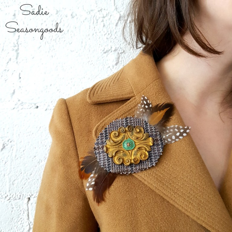 9_diy_autumn_and_winter_pin_brooch_using_vintage_wood_furniture_applique_architectural_salvage_tweed_and_feathers_by_sadie_seas