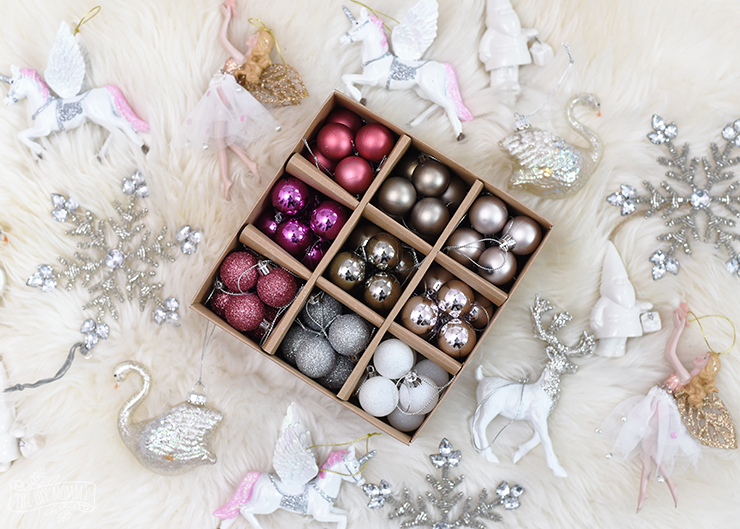 Blush pink, silver and white ornaments