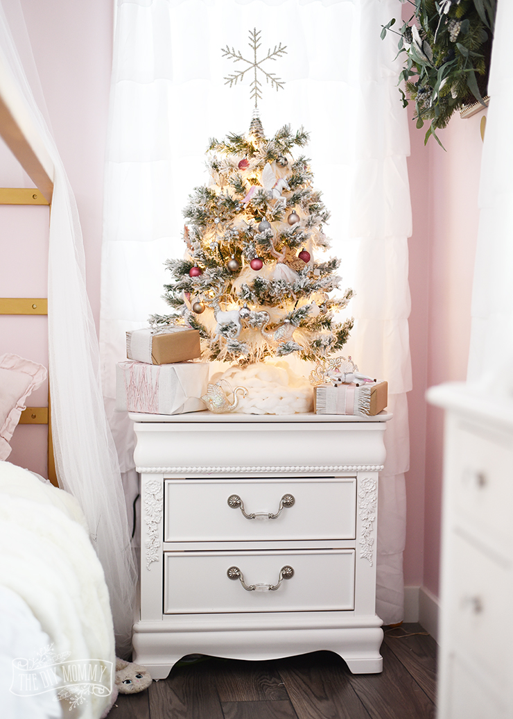 5e3fed6c1562d A White, Pink & Metallic Flocked Fairy Tale Christmas Tree in the ...
