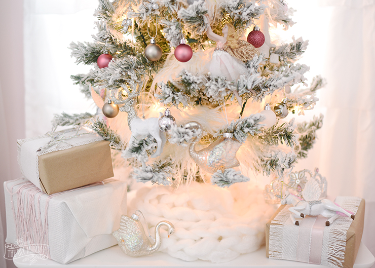 A White, Pink & Metallic Flocked Fairy Tale Christmas Tree