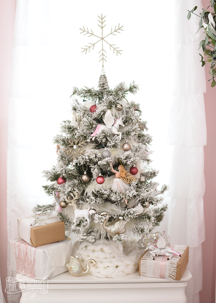 A White Pink Amp Metallic Flocked Fairy Tale Christmas Tree